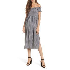 Gingham Off the Shoulder Midi Dress